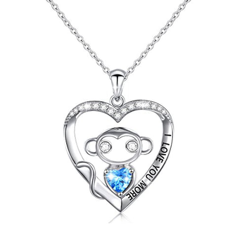 Monkey in Heart Pendant Necklace