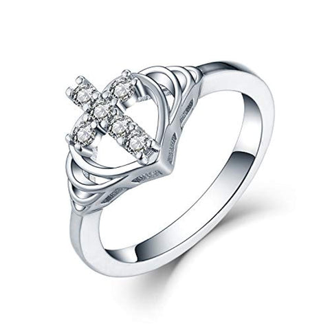 925 Sterling Silver Cubic Zirconia Heart Cross Ring
