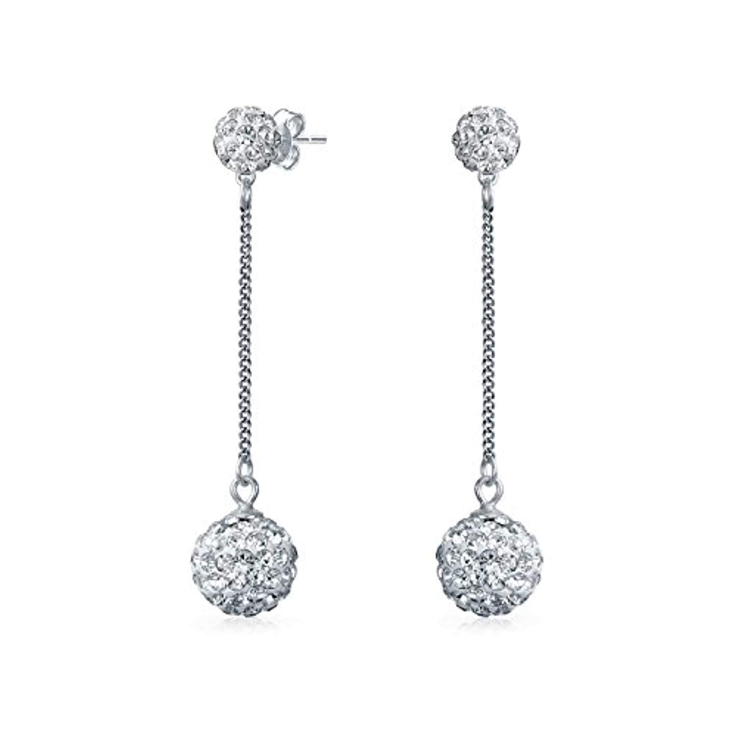 White Crystal Pave Round Double Disco Ball Drop Linear Prom Pageant Dangle Earrings For Women 925 Sterling Silver