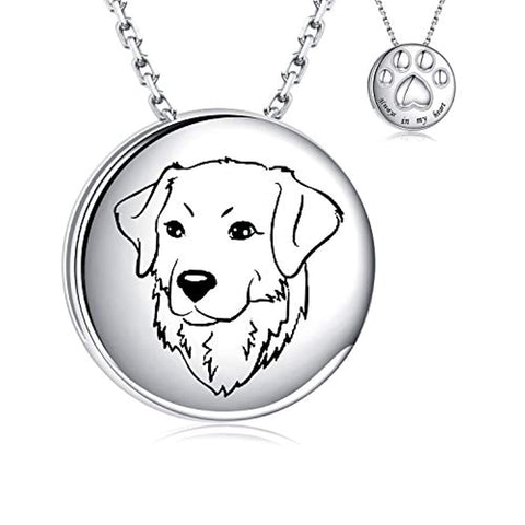 925 Sterling Silver Urn Necklace for Dog Ashes Always in My Heart Paw Print Memorial Keepsake Pendant Cremation Jewelry for Pet Golden Retriever