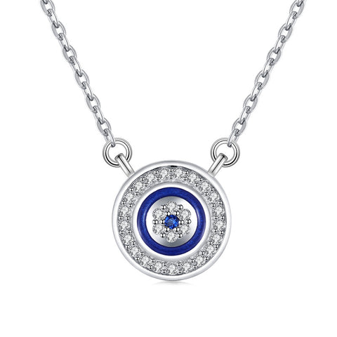 Devil's Eye Flower Circle Zircon Necklace S925 Sterling Silver Snake Bone Chain