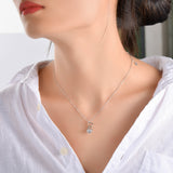 Cat Necklace Animal Jewelry Rhodium Plating AAA Zirconia Silver Necklace