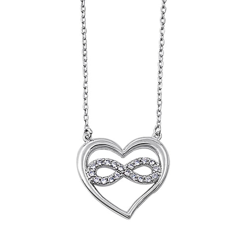 Infinity and heart cubic zirconia pendant necklace