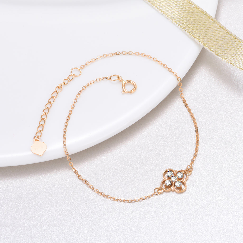 18K Gold Fashion Exquisite Bracelet Four-Leaf Clover Lucky Bracelet Temperament Elegant Ladies Jewelry