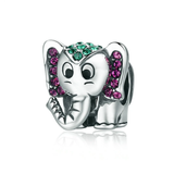 Silver Elephant Sparkling CZ Animal Beads Charms