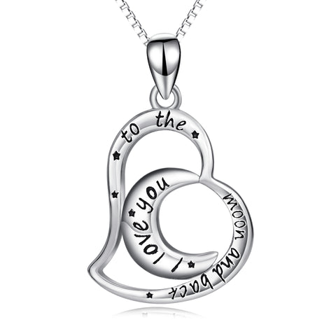Moon Heart Necklace Black Star Engraved Message Silver Necklace