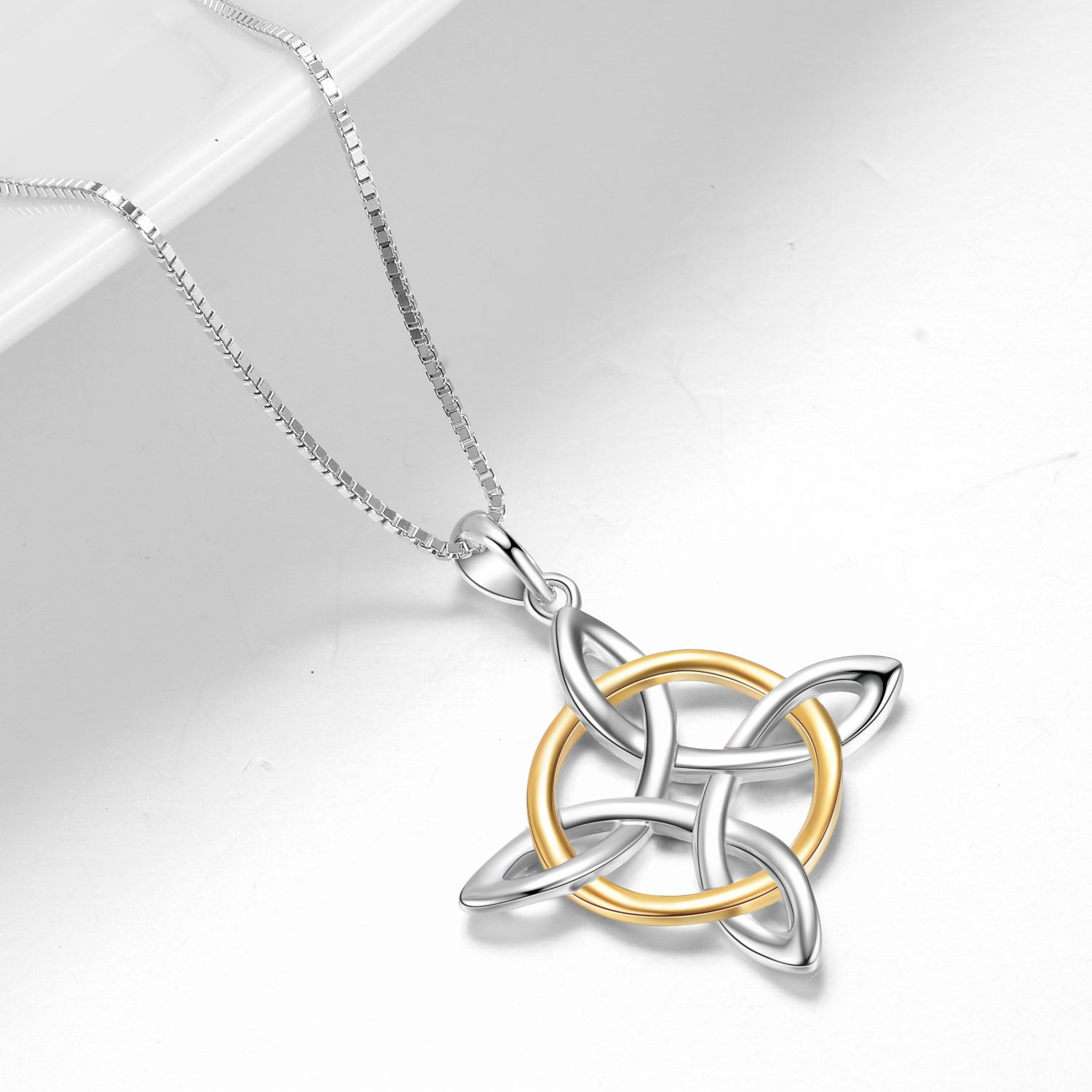 Silver Cross Jewelry 925 Sterling Different Color Celtic Knot Necklace
