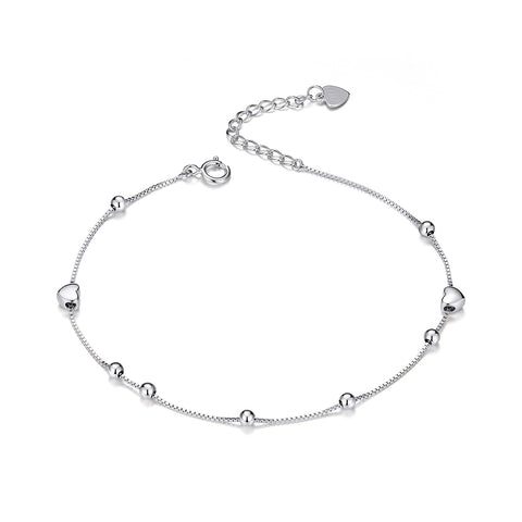 silver white gold plated heart-shaped small round ball bracelet