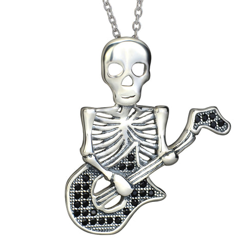 Play the guitar necklace 925 sterling silver skull pendant necklace