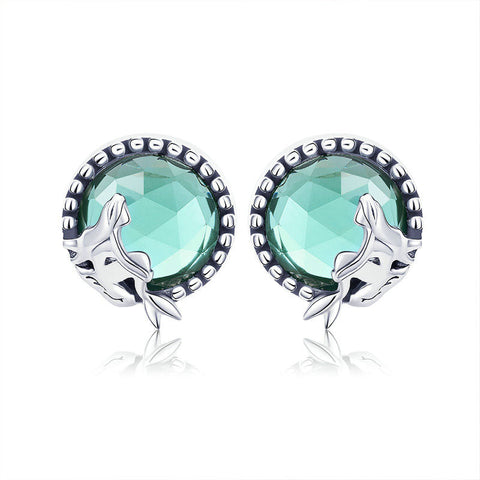 Fairy Story Light Green CZ Stud Earrings