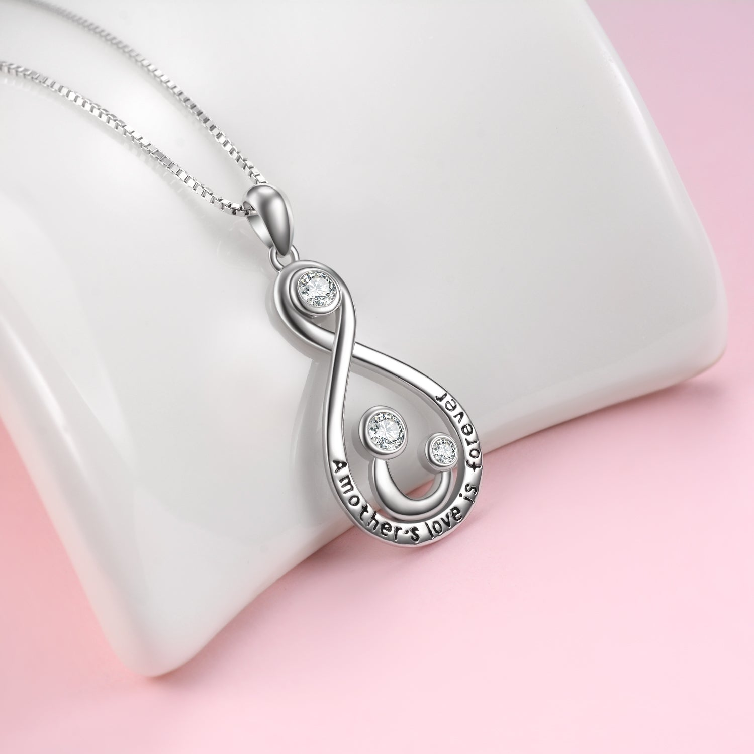 A Mother's Love For Her Child Necklace Smile Face Zirconia Necklace