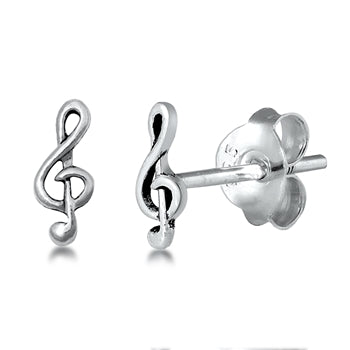 Silver Music Note Stud Earrings