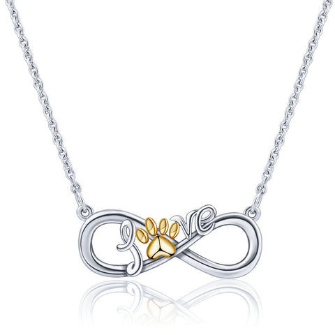 Infinity love Gold Footprints Ribbon Bow Necklace Letter Pendant Creative Eternal Knot Pendant Sterling Silver Plated