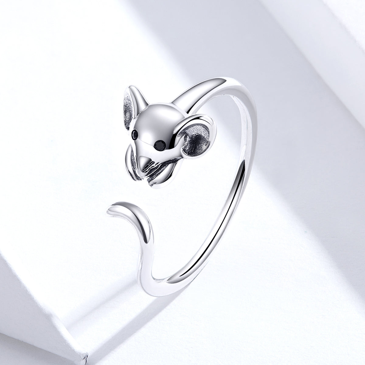 S925 sterling silver oxidized ring cute mouse ring