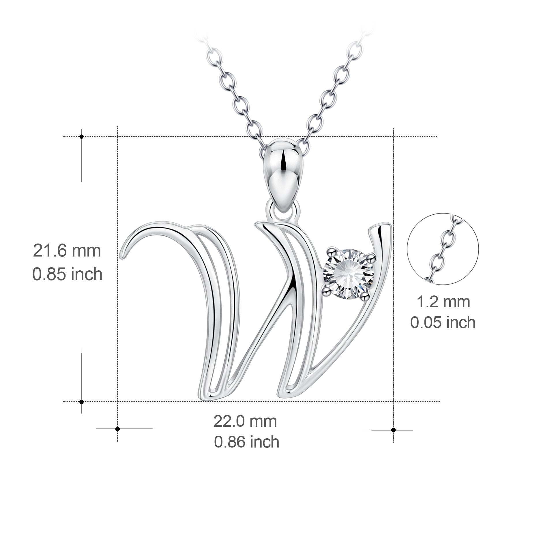 Cubic zirconia real silver jewelry alphabet men brother necklace