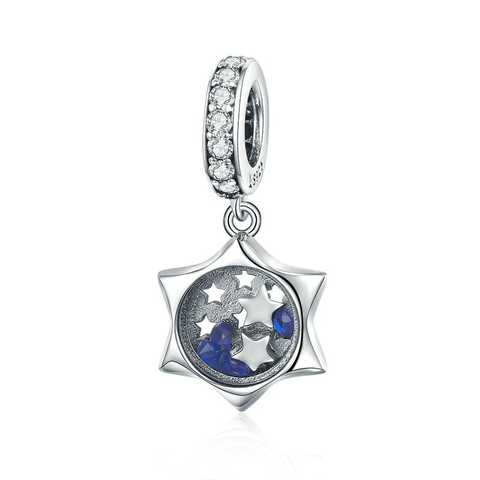 Silver Luminous Moon Clear Cubic Zircon Dangles Charms