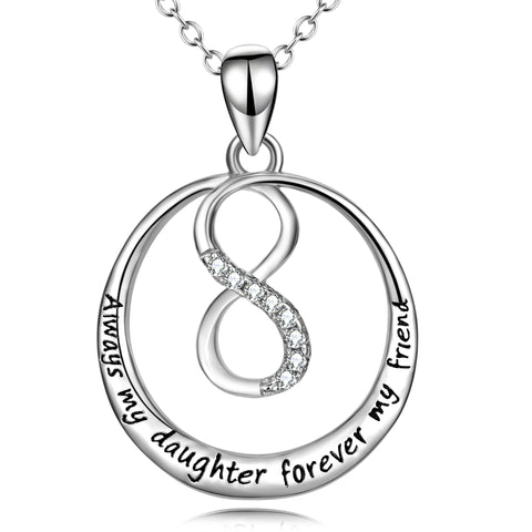 Infinite Always My Daughter Forever My Friend Necklace Message Word Jewelry