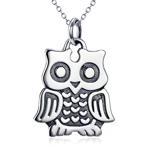 Owl Animal Necklace, 925 Sterling Silver Owl Charm Necklace