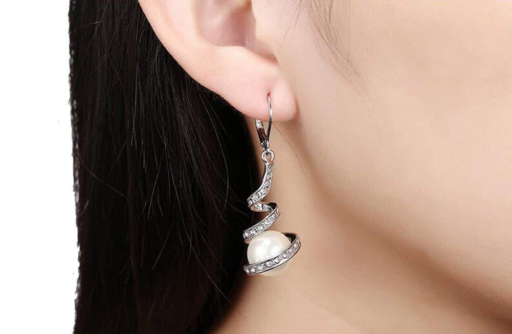 S925 Sterling Silver Creative Personality Wild Micro-Set Spiral Bead Earrings Jewelry Earrings Cross-Border Exclusive