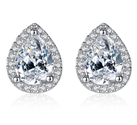 Pave Setting Pear Shape Stud Earrings 925 Sterling Silver Clear Cubic Zirconia Jewelry