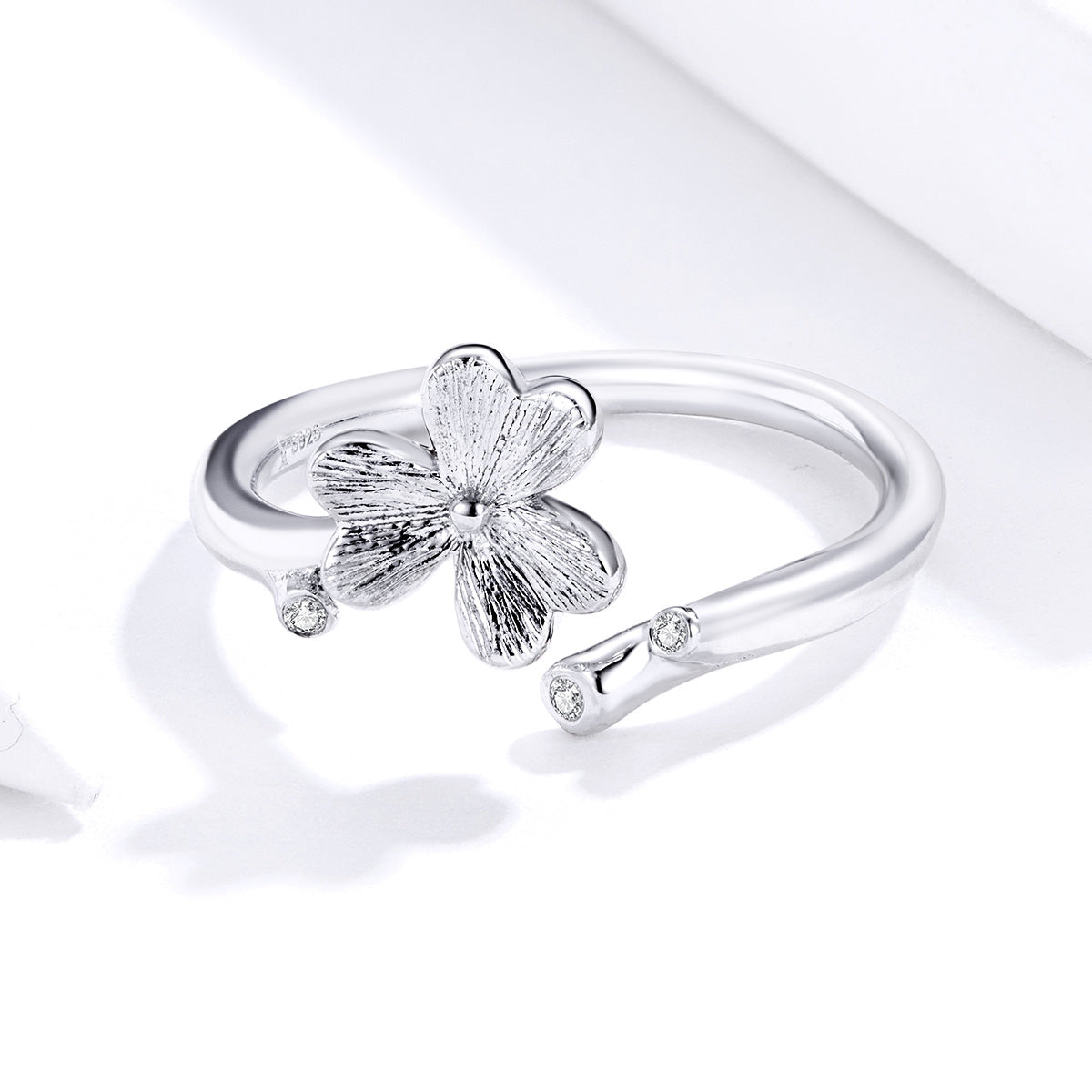 S925 sterling silver three leaf grass ring white gold plated zircon brushed ring