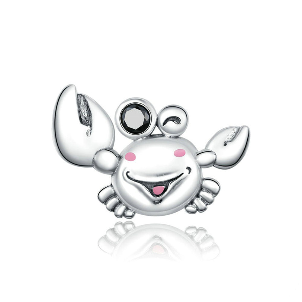 925 Sterling Silver Cute Crab Charm for Bracelet Fashion Wedding Jewelry For Gift