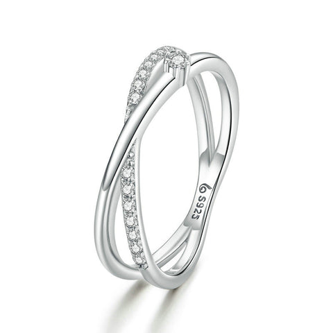 925 Sterling Silver Rings Intertwined Lines Finger Rings for Girlfriend Fashion Jewelry