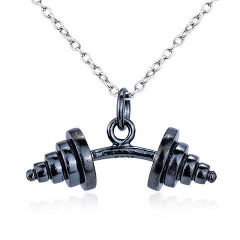 Black dumbbells fitness athlete necklace sport like silver necklace