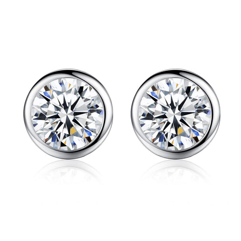 6mm CZ Earrings 925 Sterling Silver Round Design AAA Cubic Zircon Jewelry
