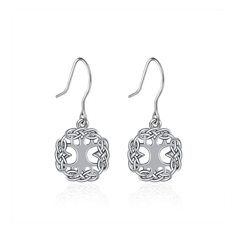 Life Tree Celtic knot fashion earrings S925 sterling silver earrings temperament long earrings