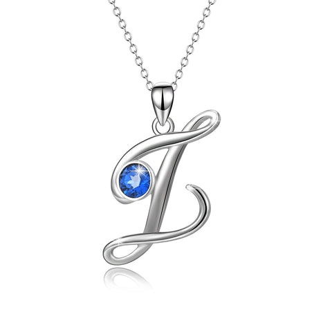 New Collection Sterling Silver Blue Round Cubic Zirconia W Necklace