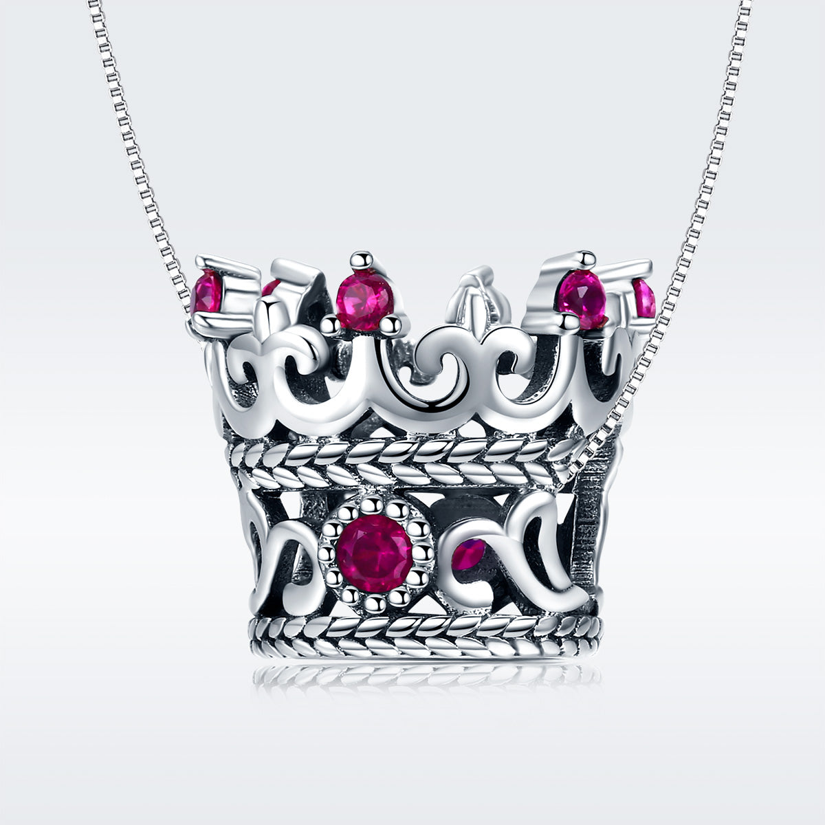 S925 Sterling Silver Oxidized Zirconia Queen Crown Charms