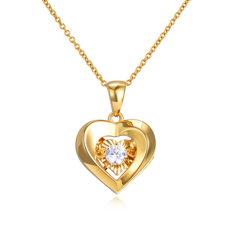 18K Gold Heart Shaped Dancing Diamond Necklace Simple Single Diamond Clavicle Chain