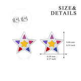 Pentagram Ear Stud Five Pointed Star Colorful Beautiful Enamel Earrings