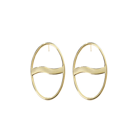 Fashion New 925 Sterling Silver Ear Jewelry Geometric Oval Gold Circle Ear