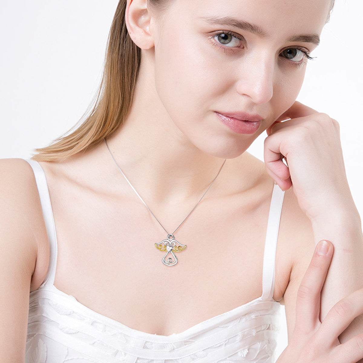 Yellow Gold and Rhodium Plating Angle Necklace Mother Birthday Necklace