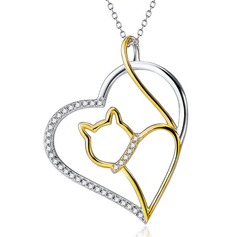 Silver Heart & Cat Pendant Necklaces Fashion Charms Jewelry