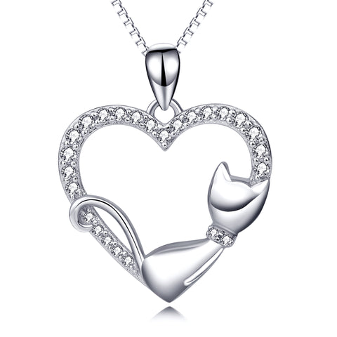 Sleep Cat Necklace Heart Loving 2019 Trendy Silver Necklace