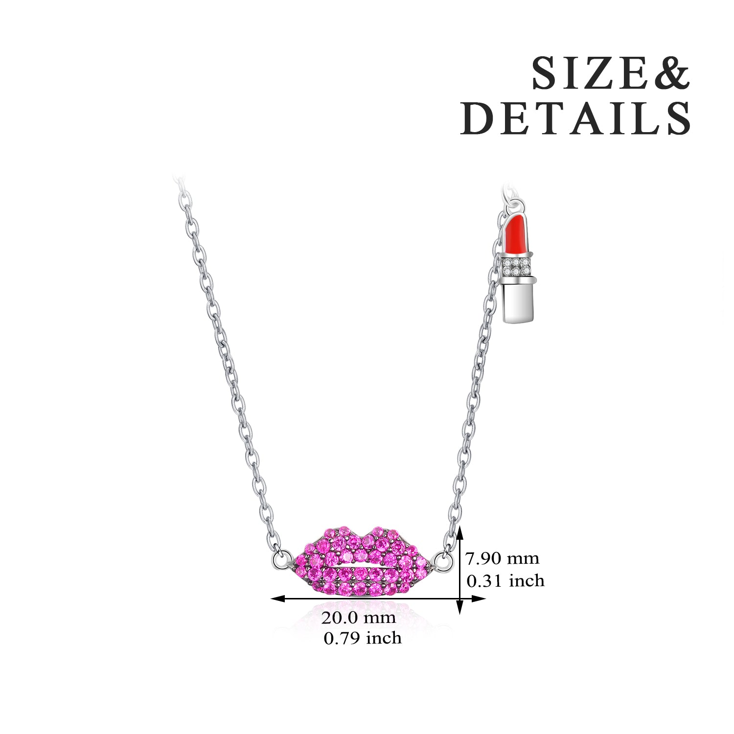 Good Quality Women Mouth Shape Sterling Silver Lipstick Necklace