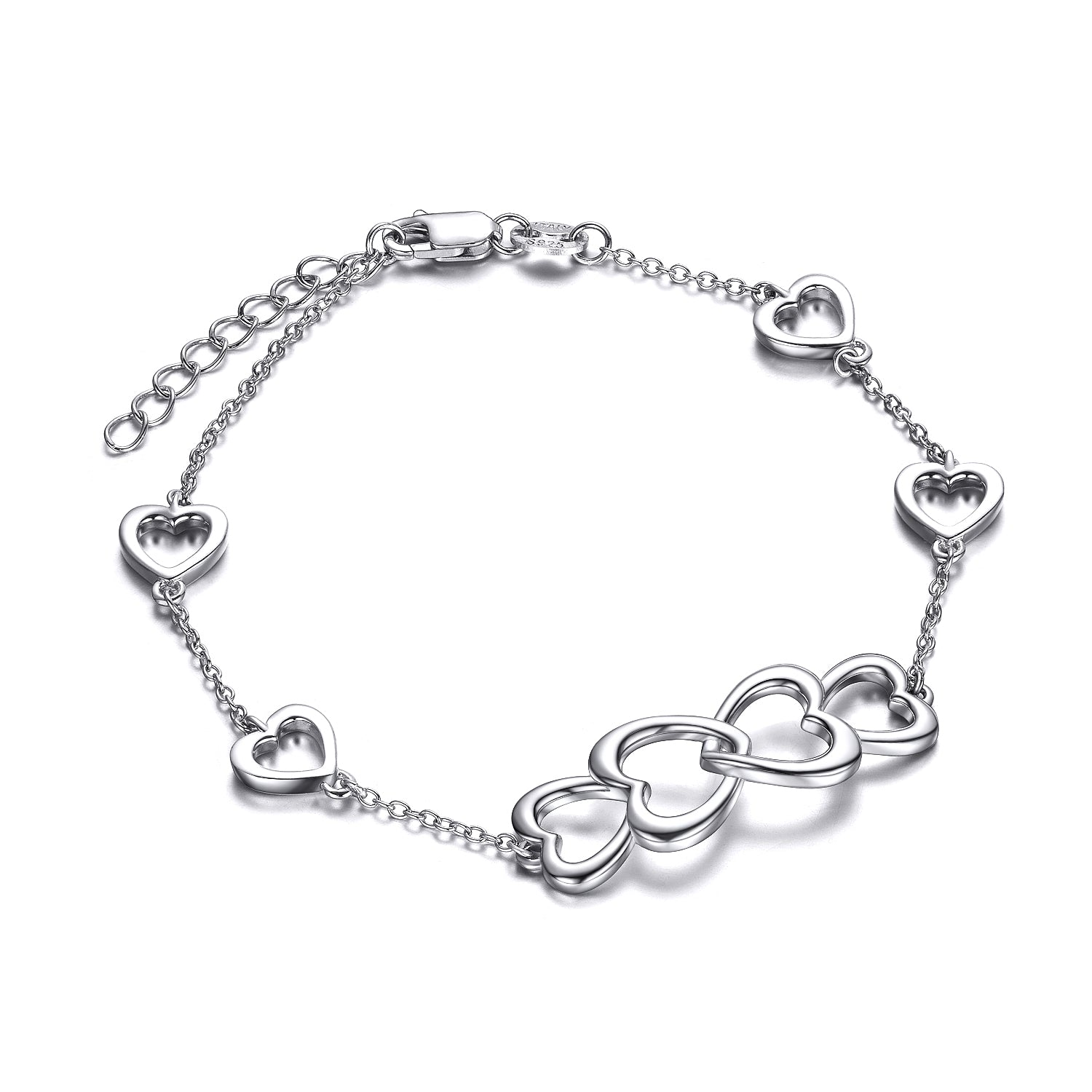 Loving Heart Adjustable Bracelet Cable Chain Heart Women Bracelet Fashionable
