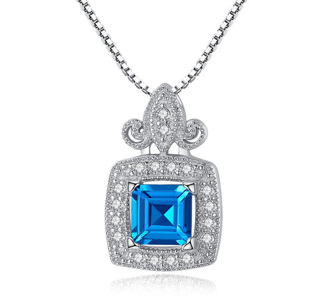 Blue birthstone pendant cubic zircon S925 Sterling silver necklace  for girl