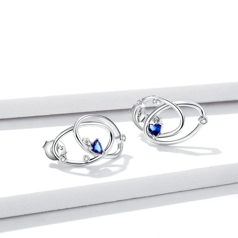 925 Sterling Silver Mysterious Planet Stone Lovely Stud Earrings for Women Fashion Jewelry
