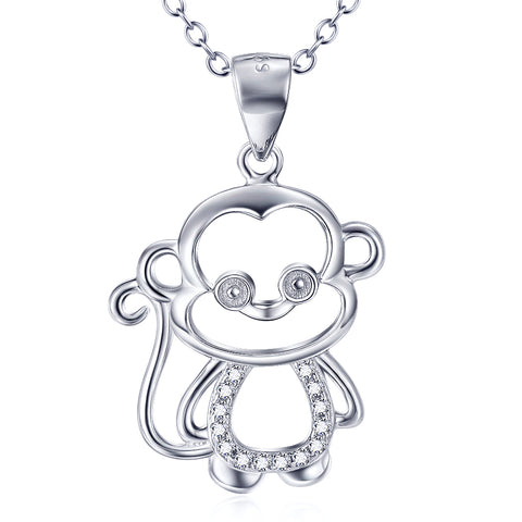 Cute Animal Monkey Necklace 925 Sterling Silver Jewelry For Girls For Gifts