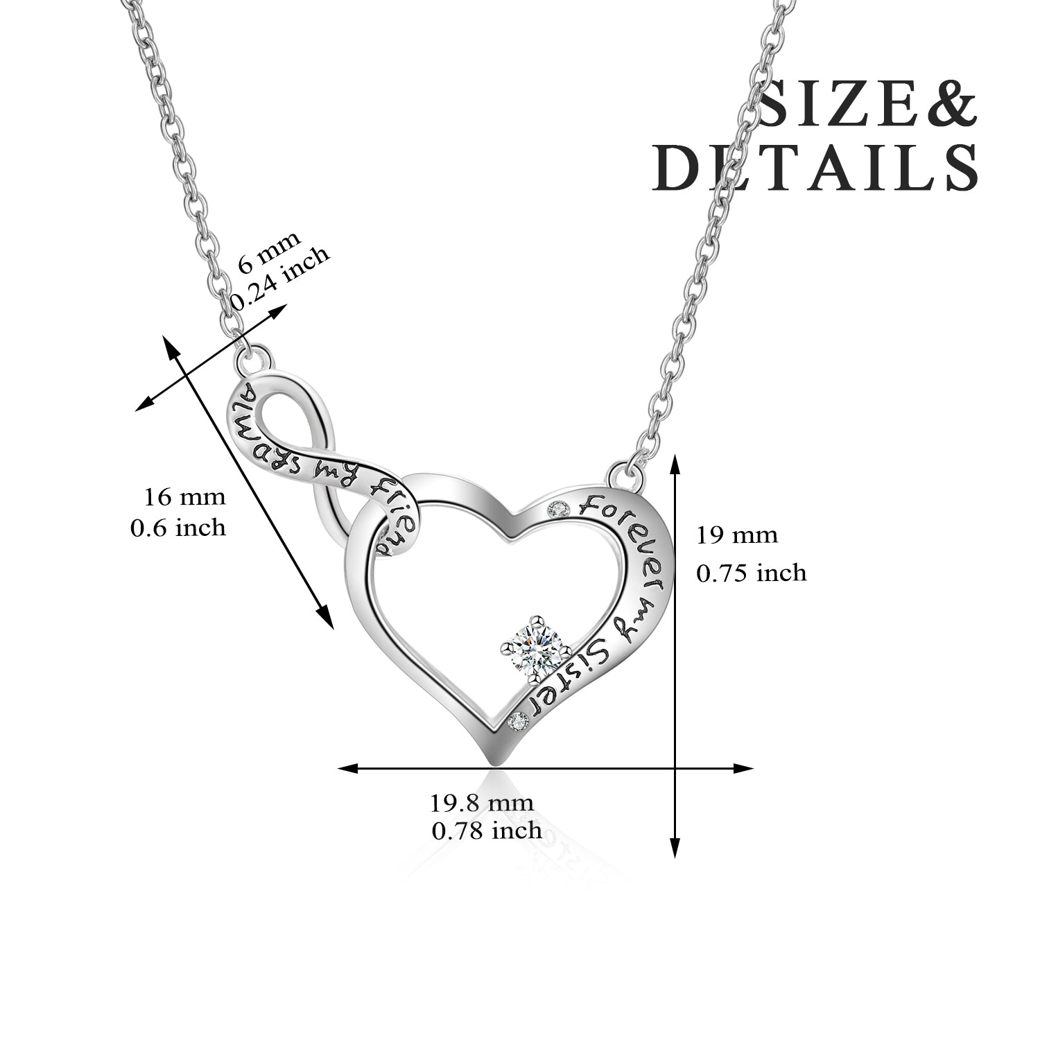 Number Eight Zircon Necklace Always My Friend Forever My Sister Necklace