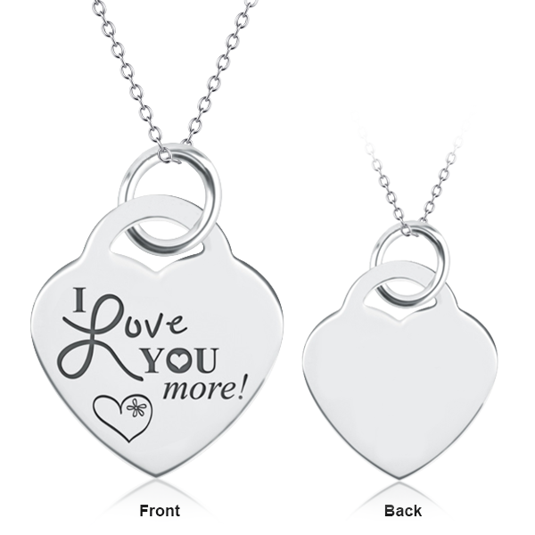 "925 Sterling Silver Personalized Heart Necklace-Adjustable 16""-20"""