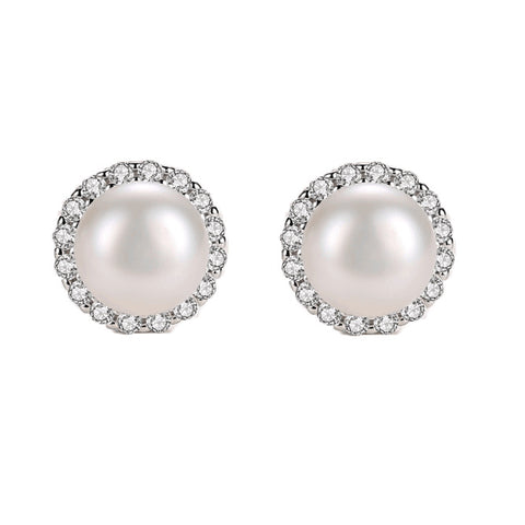 Pearl Stud Earrings Zircon Sterling Silver Stud Earrings  wholesale