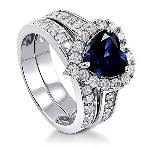 Rhodium Plated Sterling Silver Simulated Blue Sapphire Heart Shaped Cubic Zirconia CZ Statement Halo Engagement Wedding Ring Set