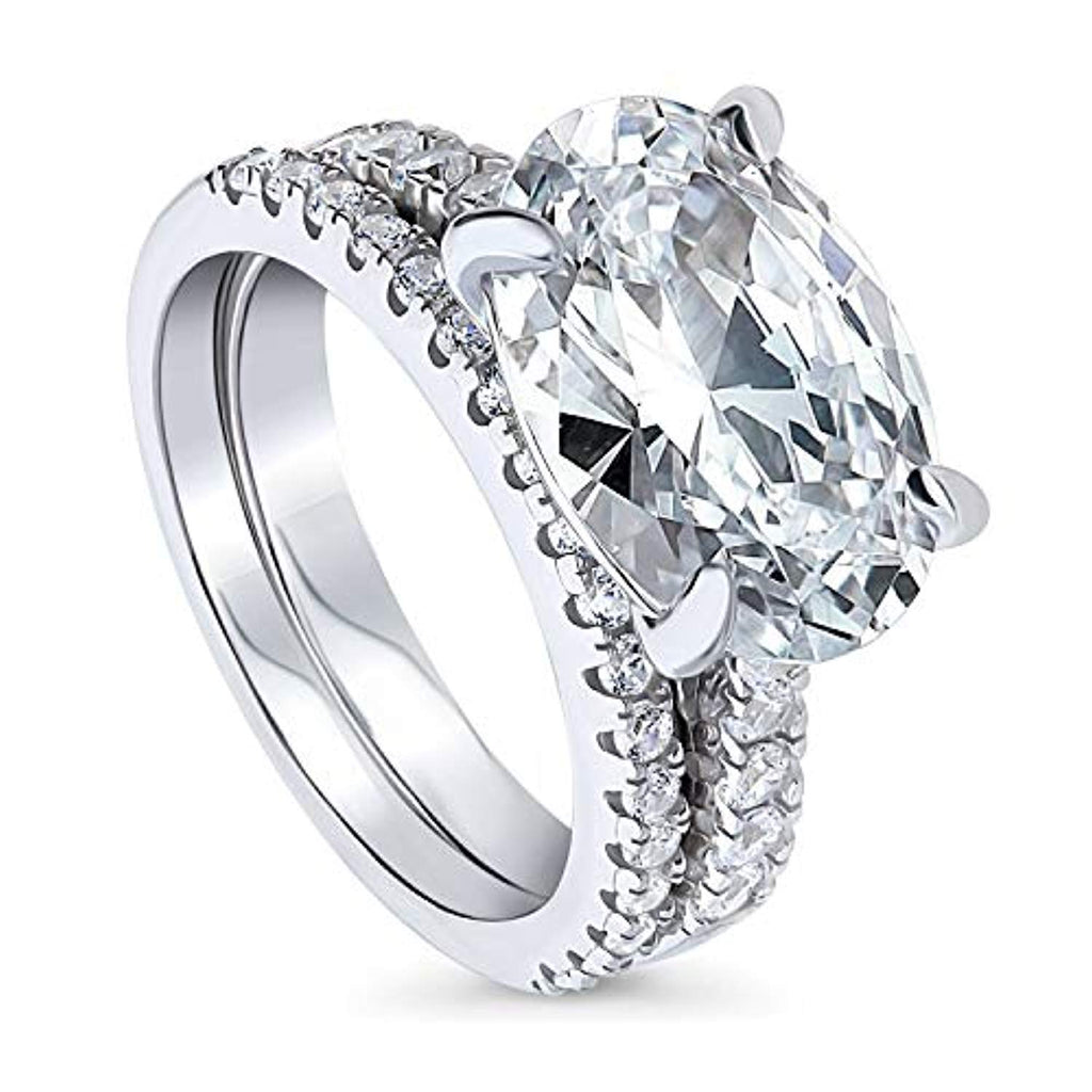 Rhodium Plated Sterling Silver Oval Cut Cubic Zirconia CZ East-West Solitaire Engagement Wedding Ring