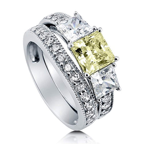 Rhodium Plated Sterling Silver Canary Yellow Princess Cut Cubic Zirconia CZ Statement 3-Stone Anniversary Engagement Wedding Ring Set