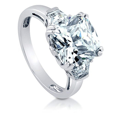 Rhodium Plated Sterling Silver Cushion Cut Cubic Zirconia CZ 3-Stone Anniversary Engagement Ring